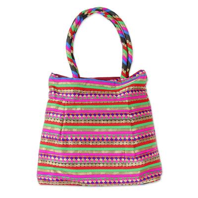 Brocade shoulder bag, 'Festive Gujarat' - Indian Designer multicoloured Brocade Shoulder Bag