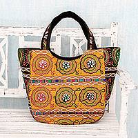 Cotton shoulder bag, 'Colors of Gujarat' - Colorful Orange Embroidered Cotton Shoulder Bag from India