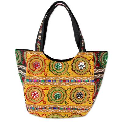 Colorful Orange Embroidered Cotton Shoulder Bag from India