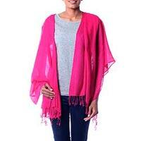 Wool shawl, 'Fuchsia Delight' - Hand Loomed 100% Wool Shawl in Bright Fuchsia