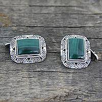 Malachite cufflinks, 'Ancient Forest' - Handsome Malachite Cufflinks in 925 Sterling Silver