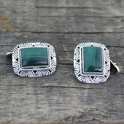 Malachite cufflinks, 'Ancient Forest' - Handsome Malachite Cufflinks in 925 Sterling Silver