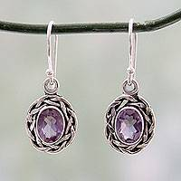 Amethyst dangle earrings, 'Indian Basket'