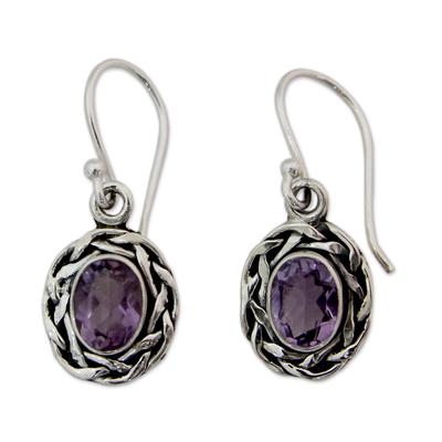Amethyst dangle earrings, 'Indian Basket' - Woven Sterling Silver and Amethyst Dangle Earrings
