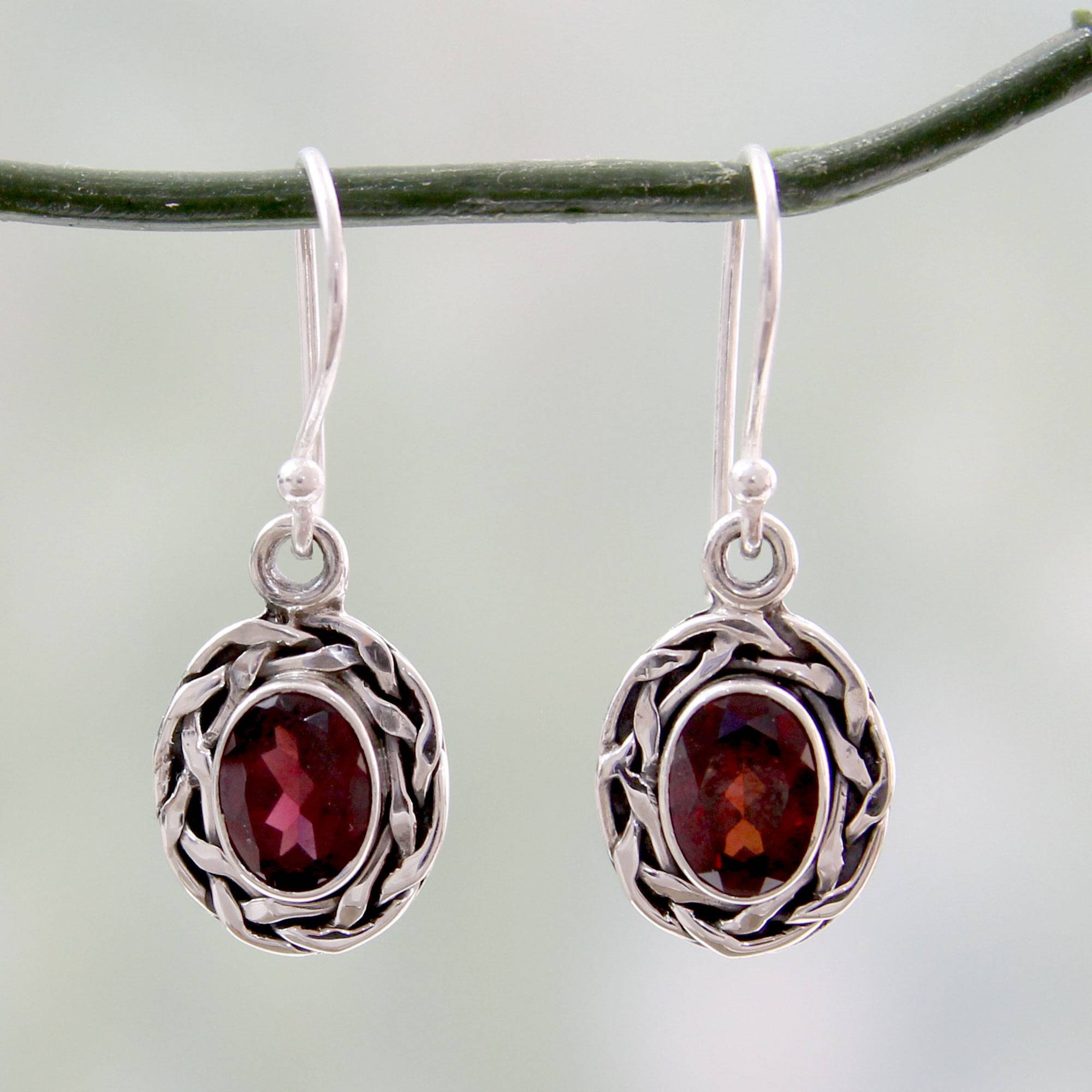 Garnet Dangle Earrings Set in Woven 925 Sterling Silver Indian