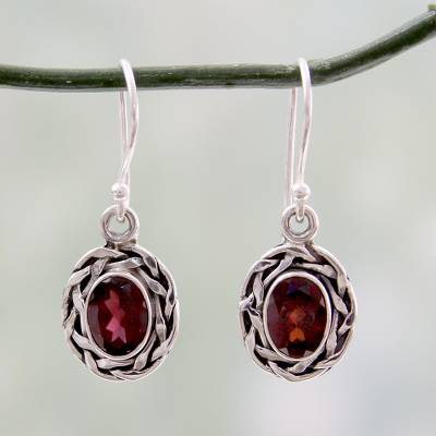 Novica Sterling silver drop earrings, Woven Silver