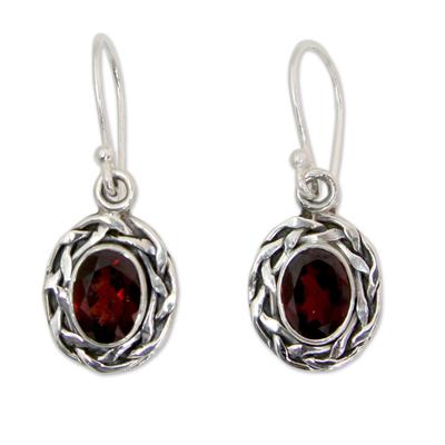 Garnet dangle earrings, 'Indian Basket' - Garnet Dangle Earrings Set in Woven 925 Sterling Silver