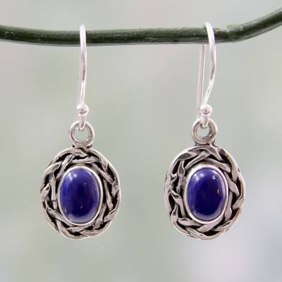 Lapis lazuli dangle earrings, 'Indian Basket' - Dangle Earrings Featuring Lapis Lazuli and 925 Silver