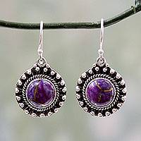 Sterling silver dangle earrings, 'Purple Fire'