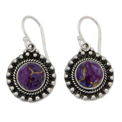 Purple Turquoise and Sterling Silver Earrings from India