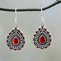 Red onyx dangle earrings, 'Tears of Fire' - Teardrop Shaped Red Onyx and Silver Dangle Earrings