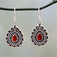 Red onyx dangle earrings, 'Tears of Fire' - Teardrop Shaped Red Onyx and Silver Dangle Earrings