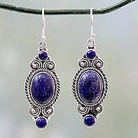 Lapis lazuli dangle earrings, 'Johari Treasure' - Ornate Sterling Silver Dangle Earrings with Lapis Lazuli