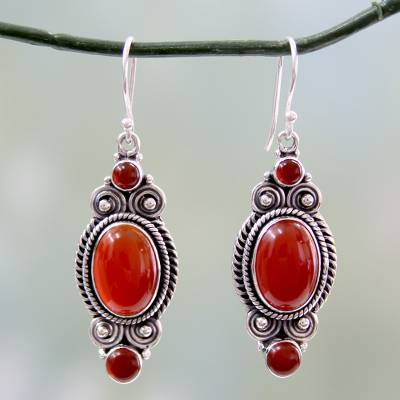 Red onyx dangle earrings, 'Johari Sunset' - Red Onyx and Sterling Silver Dangle Earrings from India