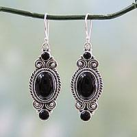 Onyx dangle earrings, 'Johari Night' - Hand Made Black Onyx and Silver 925 Hook Style Earrings