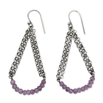 Vintage Style Sterling Silver Earrings with Amethysts