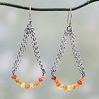 Carnelian dangle earrings, 'Chain Swings' - Indian Vintage Style Carnelian and Sterling Silver Earrings