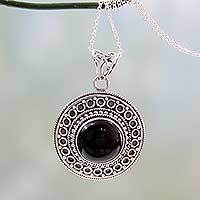 Onyx pendant necklace, 'Mumbai Medallion' - Black Onyx on Sterling Silver Pendant Necklace from India