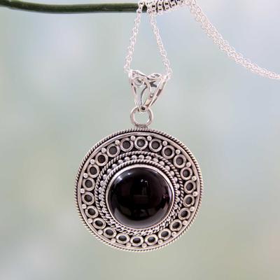 Onyx pendant necklace, 'Mumbai Medallion' - Black Onyx on Sterling Silver Pendant Necklace from India