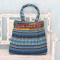 Cotton shoulder bag, 'Sky Blue Gujarat Glam' - Hand Loomed Sky Blue Cotton Handbag with Sequins