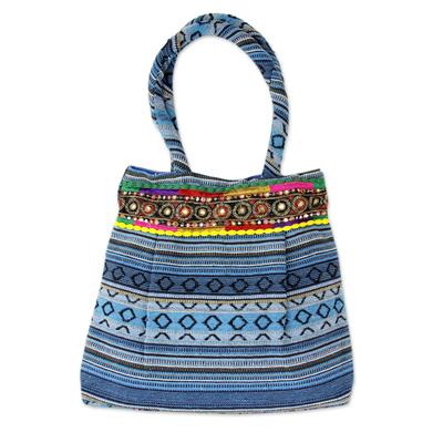 Cotton shoulder bag, 'Sky Blue Gujarat Glam' - Hand Loomed Sky Blue Cotton Handbag with Sequins