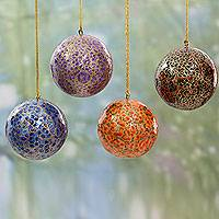 Papier mache ornaments, 'Happy Wonderland' (set of 4) - Artisan Crafted Papier Mache Bauble Ornaments (Set of 4)