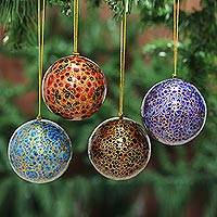 Papier mache ornaments, 'Happy Wonderland II' (set of 4) - Papier Mache Artisan Crafted Holiday Ornaments (Set of 4)