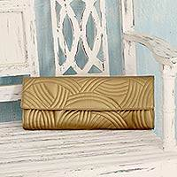 Quilted clutch, 'Golden Waves' - Antique Gold Quilted Clutch Handbag from India