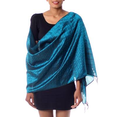 Varanasi silk shawl, 'Night Magic' - Teal Varanasi Silk Shawl Hand Woven in India