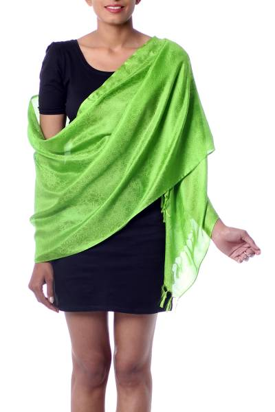 Varanasi silk shawl, 'Forever Green' - Bright Green Hand Loomed Fringed Varanasi Silk Shawl