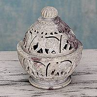 Soapstone jar, 'Elephant Parade' - Indian Elephant Theme Hand Carved Soapstone Decorative Jar
