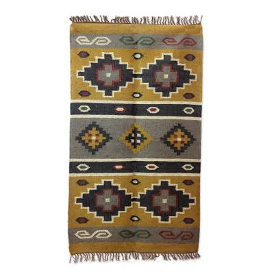 Jute rug, 'Earth Diamonds' (3x5) - Tan, Black and Gray Jute Dhurrie Area Rug from India (3x5)