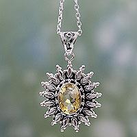 Citrine pendant necklace, 'Eternal Radiance'