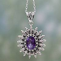 Amethyst pendant necklace, 'Eternal Radiance' - 3.5 Carat Amethyst and Silver Artisan Crafted Necklace