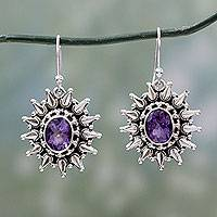 Amethyst dangle earrings, 'Eternal Radiance' - Amethyst and Silver Artisan Crafted 6 Carat Earrings