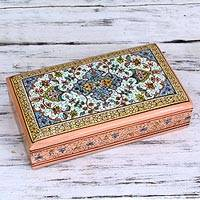 Wood jewelry box, 'Garden of Joy' - Ornate Hand Painted Wood Box from India