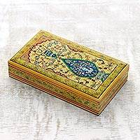 Wood jewelry box, 'Mughal Fountain' - Persian Style Hand Painted Decorative Box from India