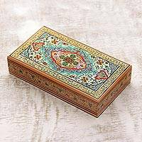 Wood jewelry box, 'Blue Persian Garden'