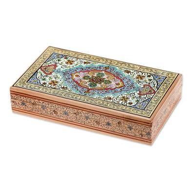 Wood jewelry box, 'Blue Persian Garden' - Indian Hand Painted Floral Wood Box