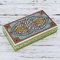 Wood jewelry box, 'Floral Symmetry' - Ornate Hand Painted Wood Box from India