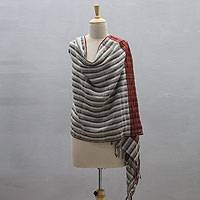 Wool blend shawl, 'Kullu Twilight' - Kullu Valley Hand Woven Wool Blend Shawl from India