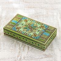 Wood jewelry box, 'Persian Paisley' - Indian Green Paisley Hand Painted Decorative Wood Box