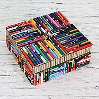 Recycled pencil box, 'Life in Color' - Upcycled Decorative Box Hand Crafted in India