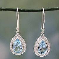 Blue topaz dangle earrings, 'Azure Dewdrop' - Sterling Silver and 3 ct Blue Topaz Dangle Earrings