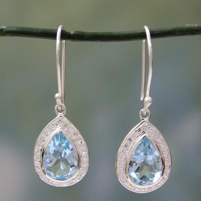 Blue topaz dangle earrings, 'Azure Dewdrop' - Sterling Silver and 3 ct Blue Topaz Dangle Earrings