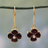 Gold plated garnet flower earrings, 'Scarlet Love' - Garnet Flower in 18k Gold Plated Hook Earrings from India