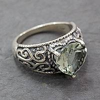 Prasiolite cocktail ring, 'Verdant Heart' - Indian Handcrafted Heart Shaped Prasiolite Cocktail Ring
