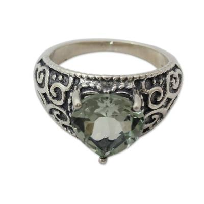 Indian Handcrafted Heart Shaped Prasiolite Cocktail Ring