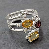 Multi gemstone wrap ring, 'Be Scintillating' - Citrine Garnet Topaz in Sterling Silver Ring from India
