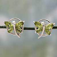 Peridot button earrings, 'Butterfly Gift' - Sterling Silver Butterfly Earrings with Peridot Birthstone